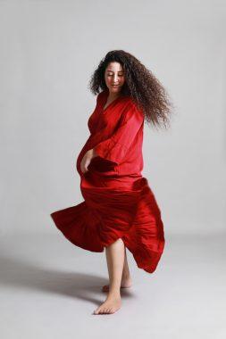שמלת מקסי אדומה